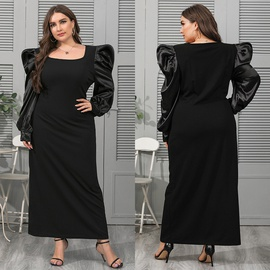 Plus Size Square Neck Puff Sleeve Loose-type Dress NSJR35907