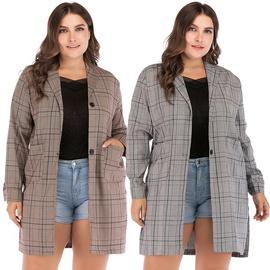 Fashionable Plaid Temperament Long Long Sleeve Jacket   NSJR35909