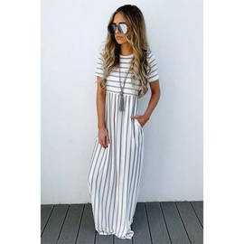 casual loose striped long dress  NSXS35913