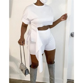 Sexy Side Tie-up Round Neck Shorts Two-piece  NSXS35918