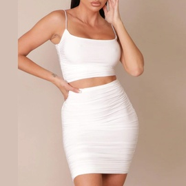 Sexy Sling Vest Pleated Skirt Two-piece  NSXS35928