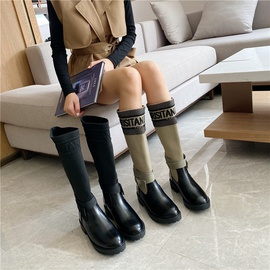 Embroidered Letters Round Toe High Boots   NSHU35950