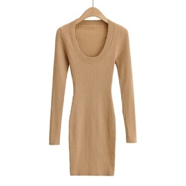 U-neck Slim Knitted Long-sleeved Dress NSAC34396