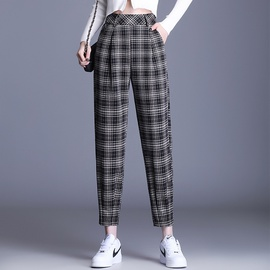 Checkered High Waist Drape Cropped Trousers NSYZ34422