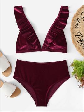 Gold Velvet Split Swimwear NSHL34427