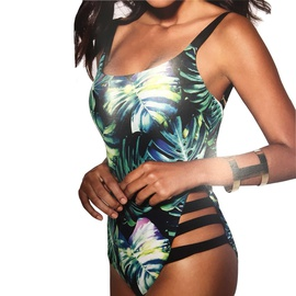 Green Leaf Printing One-piece Swimsuit  NSHL34437