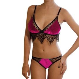 New Sexy Lace Stitching Gold Velvet Underwear Set NSYO34465