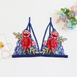 Sexy Lace Flower Embroidered No Steel Ring Bra NSYO34473