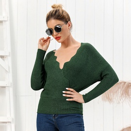 Solid Color Knitting Slim Fit V-neck Long-sleeved Sweater NSYO34477