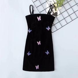 Suspender Embroidery Slim Velvet Dress NSAC34480
