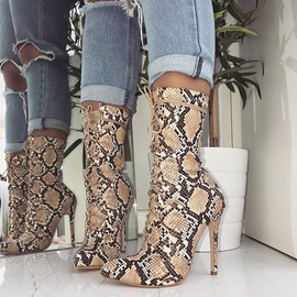 Snake Print Pointed Toe Boots  NSSO34513