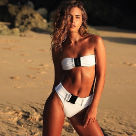 Tube Top Buckle Solid Color Split Swimsuit NSDA34550