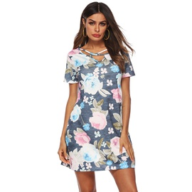 V-neck Printed Slim Short Sleeve Dress  NSOY34559