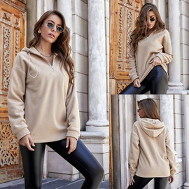 Fashion Hooded Solid Color Zipper Sweatshirt NSLM34560