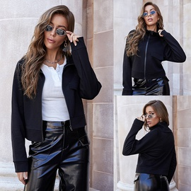 Zipper Long Sleeve Lapel Black Jacket   NSLM34561