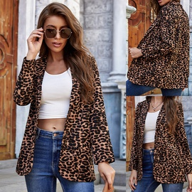 Leopard-print Lapel Tie Button Small Suit Jacket NSLM34563
