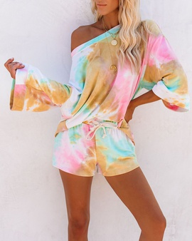 Knitted Tie-dye Printing Casual Fashion Home Suit NSSE36024
