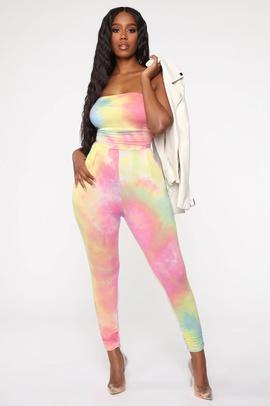 Fashion Tie-dye Sports Casual Jumpsuit NSSE36025