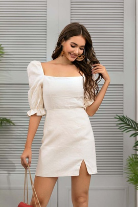 Solid Color Top High Waist Skirts Suit NSSE36031