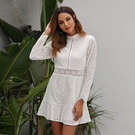 New Autumn And Winter Long-sleeved Lace Stitching Dress NSSE36035