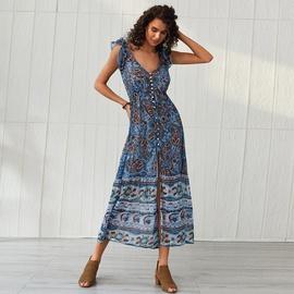 Spring And Summer Printed V-neck Dress NSSE36038