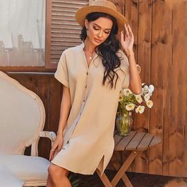 Pure Color Loose V-neck A-line Skirt  NSDF36050