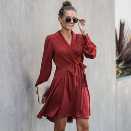 New Loose Slim V-neck Lace Irregular Skirt NSSE36060
