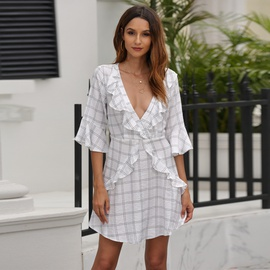 Spring And Summer New Print Plaid One-piece Dress NSSE36062