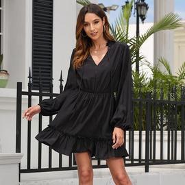 New V-neck Loose Solid Color Waist Long Sleeve Dress NSSE36063