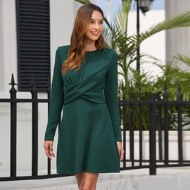 Autumn And Winter New Fashion Round Neck Long Sleeve Dress NSSE36071