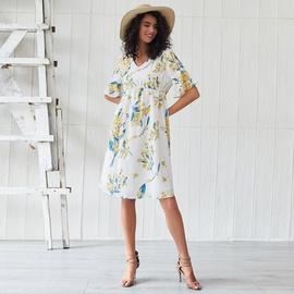 New Fall V-neck Printed Dress NSSE36073