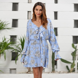 New Cotton Printed Stitching V-neck Long-sleeved Dress NSSE36075