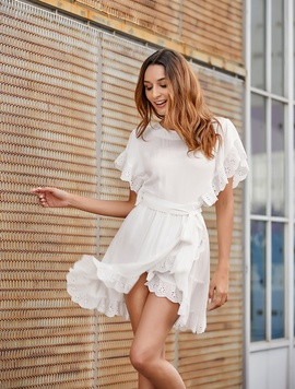 New Lace Stitching Ruffled Simple Dress  NSSE36079
