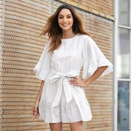 New Flared Sleeves Ruffled Stitching Striped Printed Skirt NSSE36086