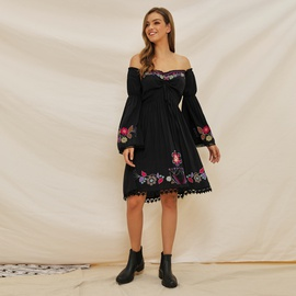 Fashion Black New Embroidery Dress NSSE36096