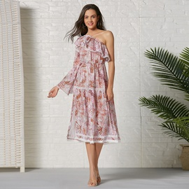 Spring And Summer New Print Stitching Long Dress NSSE36106