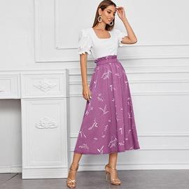 Retro Square Collar Short Sleeve Fashion Skirt Suit NSXS36168