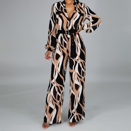 Printing Long-sleeved Casual Jumpsuit NSXS36175