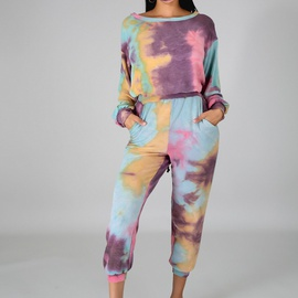 Loose Casual T-shirt Printed Pants Suit NSXS36190