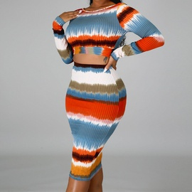 Wrapped Chest Bag Hip Striped Skirt Suit  NSXS36194