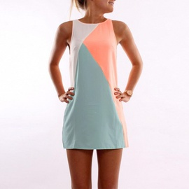 Summer New Fashion Contrast Color Sleeveless Stitching Dress NSXS36223