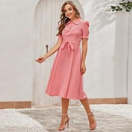 Doll Collar Mid-length High Waist Solid Color Dress NSXS36226