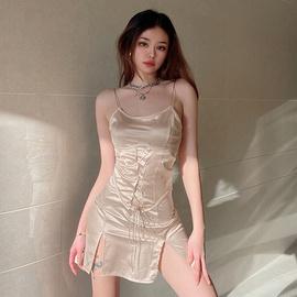 Color Lace-up Waist Slim Suspender Skirt NSLQ36241