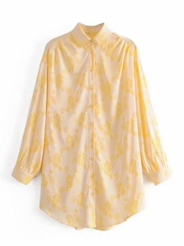 New Jacquard Satin Lapel Shirt Dress  NSAM36259