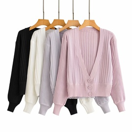 Wild Loose Slim Short Striped Sweater Cardigan   NSAM36267