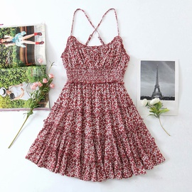 New Style Rayon Water Print Suspender Dress  NSAM36270