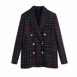 Spring Grid Wool Yarn Suit Jacket  NSAM36276