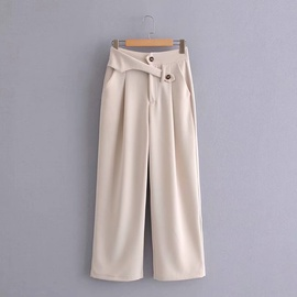 solid color high waist irregular thin button trousers  NSAM36281