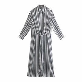 Spring Striped Shirt Long Sleeve Dress  NSAM36314