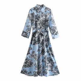 Spring Printed Shirt Dress  NSAM36315